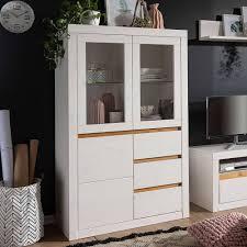 wohnzimmer vitrinenschrank in weiß eiche meuvrun