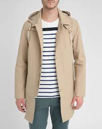 celio club beige trench coat with removable hood in natural for