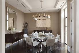 Impressive Contemporary Dining Room With Chandelier High Ceiling For Family