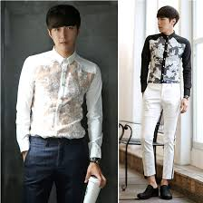 Sexy Man Shirt Brand 2015 Polo Flowers Slim Fit Blouse Men Dress Shirts Long Sleeve Casual Mens See Through White