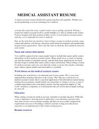 Medical Assistant Resume Samples Stibera Resumes In With No Experience