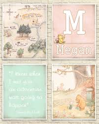 Wall Decal Winnie The Pooh by Classic Winnie The Pooh Wall Art 100 Acre Wood Map Baby Or Girls