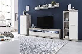 wohnwand amandus beton weiß 4er set wohnzimmer wohnzimmerschrank schrank wohnzimmerwand wohnzimmermöbel möbel kombination größe ohne