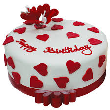H Eart Happy Birthday Cake Picture Red And White Hearts