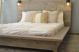 Wood Platform Bed Frame Queen by Wood Platform Bed Frame With Lighted Floating Headboard Queen