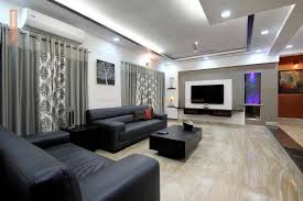 Grey Living With Granite Flooring Design Photos