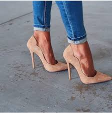 Shoes heels high heels beige denim jeans classy