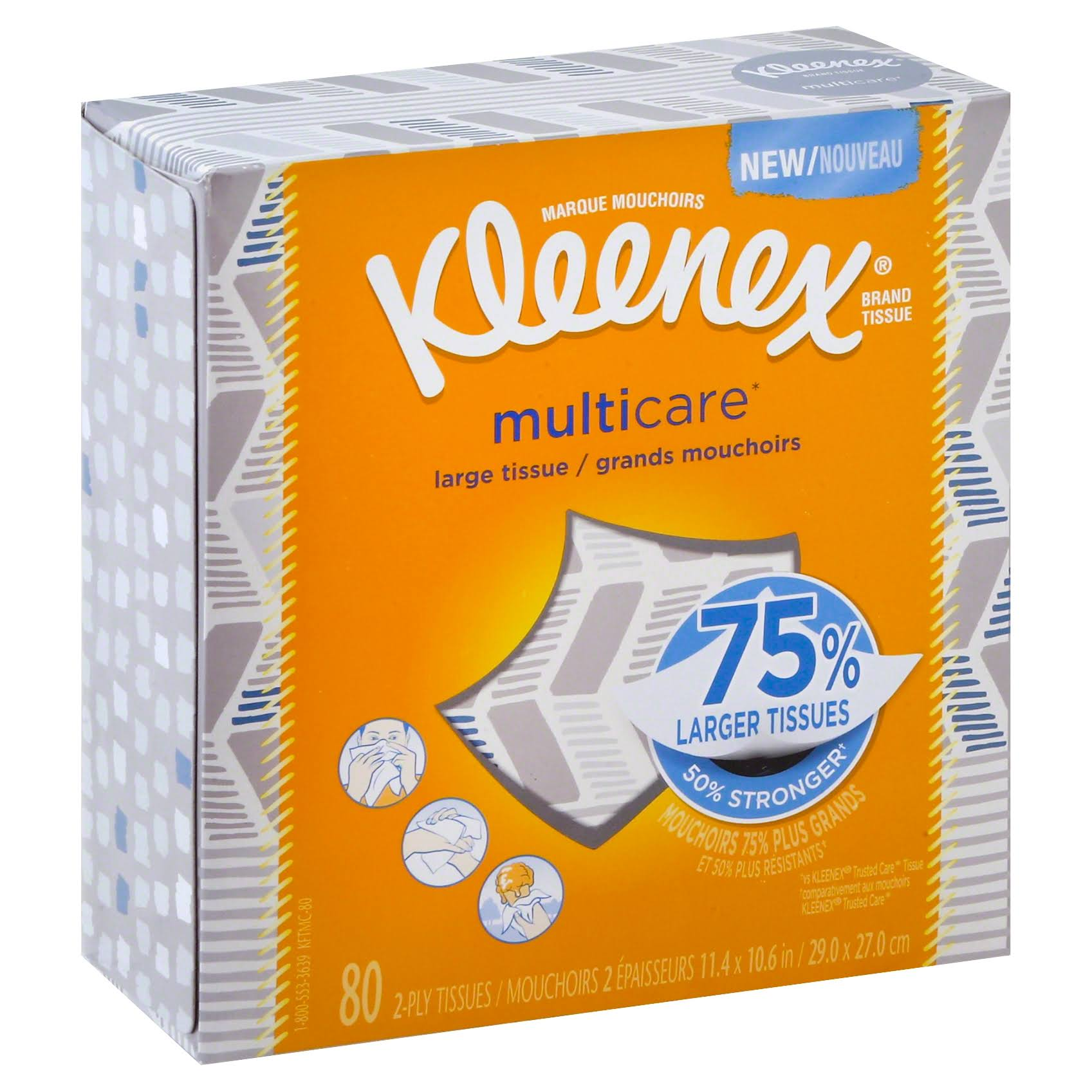 Kleenex Multicare Facial Tissues, 2-Ply - 80 count