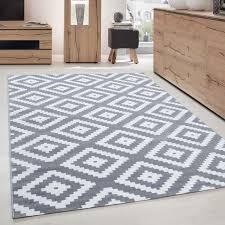 moderner wohnzimmer elegance designer teppich kurzflor grau weiss größe 80x150 cm
