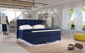 boxspringbett schlafzimmerbett parma kunstleder dunkelblau 180x200cm