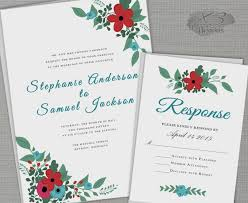 Floral Barn Wedding Invitation Set Printable Rustic Invite W Red Blue Flowers