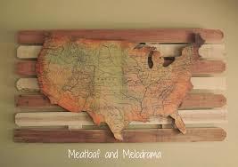United States Map Wall Decor Rustic Art Ideas Display Shelf Decorative Wood