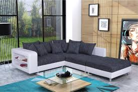 modernes sofa ecksofa eckcouch in schwarz weiss mit hocker dresden r