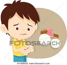 Clipart Cute boy do not want to take medicine Fotosearch Search Clip Art