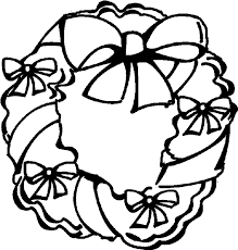Holiday Wreath Coloring Book Page Christmas Bows Holly