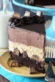 Peanut Butter Chocolate Mousse Cake A brownie layer on bottom with Reese s topped with