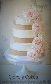 Roses And Hessian 3 Tier Wedding Cake Pink Rustic