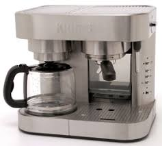 The Krups XP604050 Combi Espresso Machine And 10 Cup Coffee Maker Has A Stainless Steel