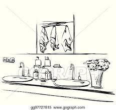 eps vektor gezeichnet badezimmer interior