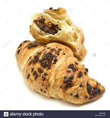 Chocolate Croissant French Pastry Isolated Against White Background