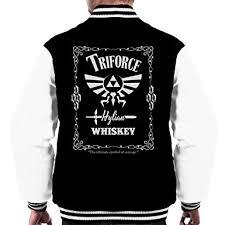 triforce hylian whiskey zelda men s varsity jacket amazon co uk