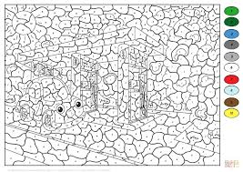 Car At Gas Station Color By Number Coloring Page Advanced Pages
