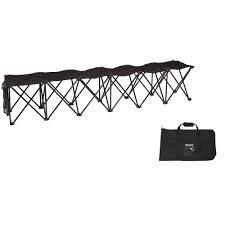 Trademark Innovations Portable 6-Seater Folding Black Team Sports Sideline  Chair