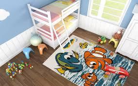tapis chambre d enfant tapis bleu pour enfant à courtes mèches nemo pas cher