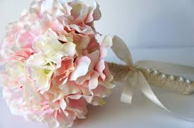 Blush Pink Hydrangea Bouquet Silk Wedding Flowers Bridesmaid Rustic Vintage Bridal Bride Bridesmade