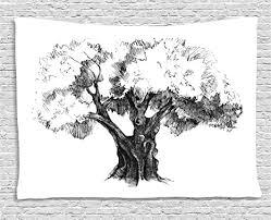 abakuhaus baum wandteppich olivenbaum retro natur wohnzimmer schlafzimmer heim seidiges satin wandteppich 200 x 150 cm weiß schwarz