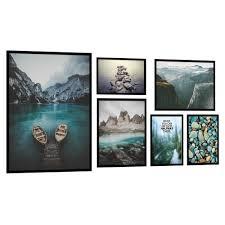 posterset deko bilder 6er mit rahmen kunstdruck wohnzimmer wandgalerie plakat