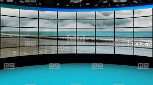 HD News 36 TV Virtual Studio Green Screen Background Blue GIF