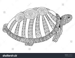 Drawing Turtle For Coloring Page Book Adult Shirt Design Effect Logo