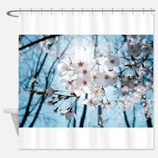 Cherry Blossom Curtain Blue by Sakura Pink Shower Curtains Cafepress