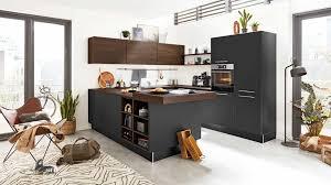 interliving küche serie 3031 mit aeg einbaugeräten mattschwarz nussbaum kuba stellfläche ca 275 x 305 cm