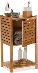relaxdays badregal bambus 2 ablagen 1 fach mit tür bad küche schmal klein badmöbel hbt 62 5 x 35 x 29 cm natur