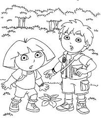Dora And Diego In The Forest Explorer Coloring Page