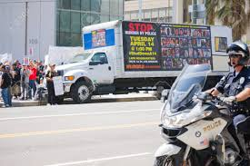 100 Truck Stop Los Angeles CA USA April 14 2015 With Banner Parked
