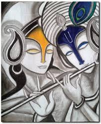 Stybuzz Lord Krishna And Radha Modern Art Canvas
