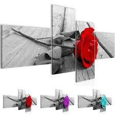details zu wandbild modern wohnzimmer blumen rot grau schlafzimmer deko bilder