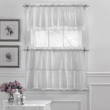 elegant crushed voile ruffle blue white pink purple beige window