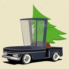 Funny Cartoon Pickup Truck With Christmas Tree Royalty Free Cliparts ...