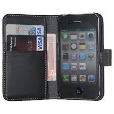 housse etui cuir noir ouverture portefeuille pour iphone 4 4s