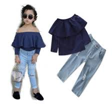 Kids Girls Sets 2 7T Baby Girl Off Shoulder T Shirt Jeans 2pcs Suits 2018 Spring Toddler Infant Princess Fashion Outfits Children Clothing
