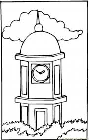 Big Clock Tower Coloring Page