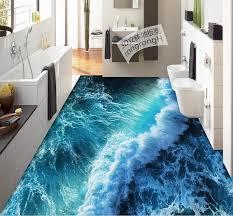 3d Flooring Waterproof Mural Wallpape Summer Waves Floor Stereoscopic Wallpaper Pvc Plastic Carpet Roll