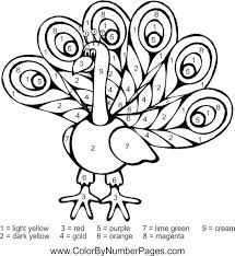 Peacock Animal Color By Number Free To Print For Kids