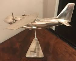 Airplane Lamp Art Deco by Nickel Stylized Twin Propeller Cargo Airplane Model Statues