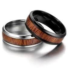 Best Whole Sale8mm Vintage Wood Inlay Stainless Ring Men Engagement