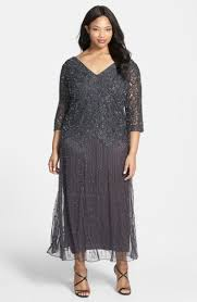 Vintage Evening Dresses And Formal Gowns Plus Size Womens Pisarro Nights Beaded V Neck